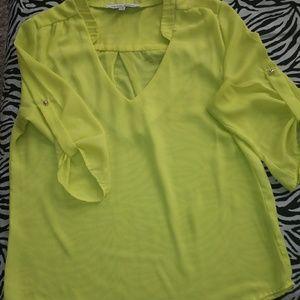 Womens neon yellow blouse